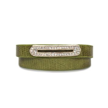 Luxe Leather Bracelet- Lime Green