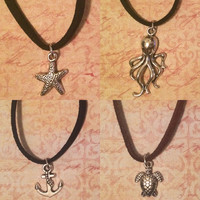 Ocean Charm Choker (faux suede cord - Turtle, Octopus, Anchor, Starfish)