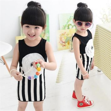 Baby Girls Clothes Sleeveless Dresses Fashion Children Clothing Flower Design Infant Girls Dress Child Costume Toddler Girl A073