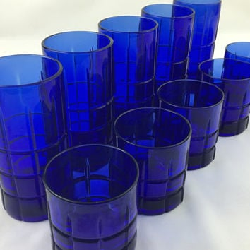 Mid Century Cobalt Blue Barware Set of 10 Retro 60's Anchor Hocking Blue Tartan Drinking Glasses Mixed Drink Tumblers & Short on The Rocks