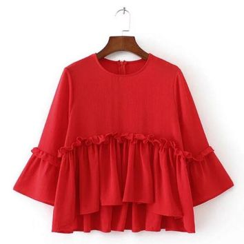Summer Women Ruched Ruffles Blouse O Neck Three-Quarter Sleeve Black Red Loose Casual Top