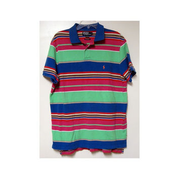 Ralph Lauren Polo Shirt M L vintage 80s Custom Fit Tropical Surf Stripes Mens Sapphire Blue Hot Pink Red Yellow Lime