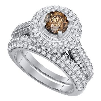 14kt White Gold Women's Round Cognac-brown Color Enhanced Diamond Halo Bridal Wedding Engagement Ring Band Set 2-1/12 Cttw - FREE Shipping (US/CAN)