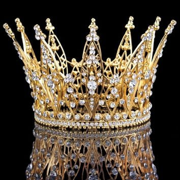 """Naomi"" Gold Crystal Birthday Crown"