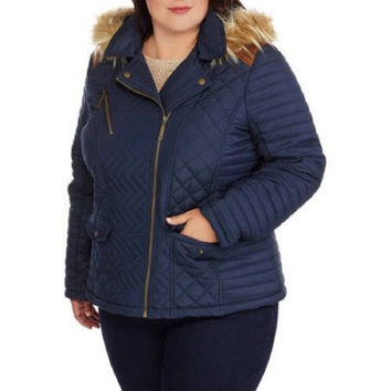 Maxwell Studio Women's Quilted Chevron Puffer Coat  Fur-Trim Hood, Navy Blue, Sm
