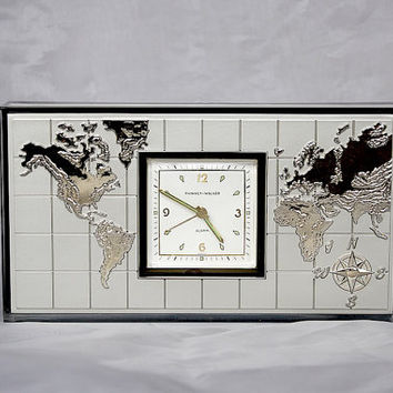 Cigarette Box - Phinney Walker Travel Clock - Vintage Clock - World Map Decor Alarm Clock Trinket Box - Semca Clock Germany - Office Decor