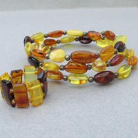 Vintage Egg Yolk, Honey, & Cognac Genuine Baltic AMBER with Sterling Silver Memory Wire Bracelet & Stretch Ring Set