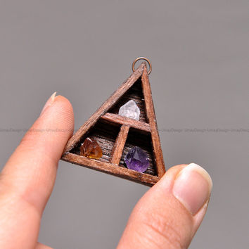 Cute Wooden Series Pendant, Amazing Handmade Jewelly, Crystals, Copper Ring & Copper Chain, Unisex Pendant