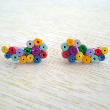 Colorful Paper Stud Earrings Minimal Paper Jewelry Wing Shaped Studs Eco-Friendly / Σκουλαρίκια από χαρτί