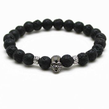 DCCKM83 Black Beads Natural Stones Skull Bracelet For Women Lava Stone Beads Men Bracelet Black Lava Beads Bracelets Pulseras Mujer