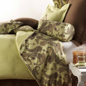 Chocolate Brown and Green Duvet Set - Only One Set Left