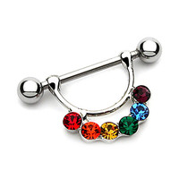 Rainbow Gem Nipple Ring with Gems 14 Gauge [Jewelry]