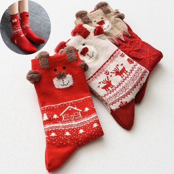 Red and White Christmas Cotton Socks