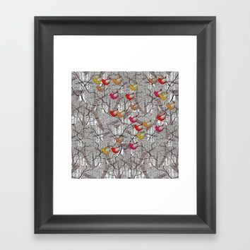 The birds of many colors Framed Art Print by Bozena Wojtaszek