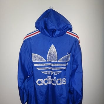New Year Sale ADIDAS Windbreaker Hooded Vintage Made in Japan Hip Hop Jacket Street wear Big Logo Used Blue