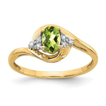 14K Yellow Gold Diamond & Peridot Ring