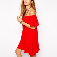 Red Off-Shoulder Ruffle Dress