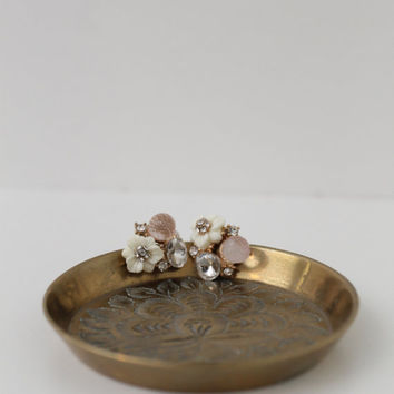 Rustic Floral Small Brass Plate made in BC India