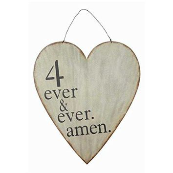 4 Ever & Ever Amen -- Vintage Metal Heart Wall Decor with Wire Hanger 27-1/2-in