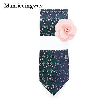 Fashion Christmas Neckties For Mens Wedding Party Suits Neckties Wide Neck Tie With Brooch Gifts Sets