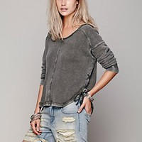 Free People Womens Washed Tie Up Pullover -