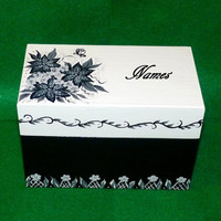 Wedding Guest Book BOX Alternative Vintage Floral Decorative Wood Box- Hand Painted Wedding Keepsake Box 3x5 Cards Personalized