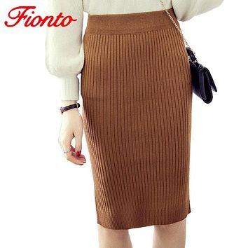 New Plus Size Slim Office Skirt Faldas Women Sexy Elastic High Waist Pencil Skirt One Step Knitted Work Formal Skirts A1515