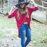Twist Front Top in Burgundy