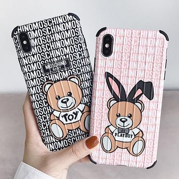 Moschino New fashion bear more letter print couple protective cover phone case