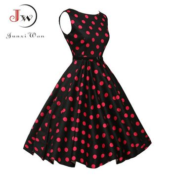 Women Summer Dress Polka Dot Retro Vintage 50s 60s Casual Party Office Robe Rockabilly Dresses Plus Size Vestidos mujer