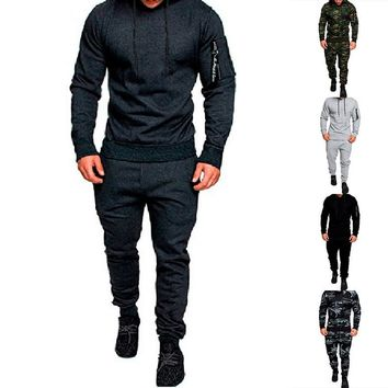 CALOFE 2018 Autumn Men Sportwear Pants Jackets Tracksuit Men's Hoodie Camouflage Tracksuits Outwear Set Sportswear Sweat Suit