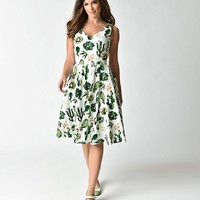 1950s Style White & Green Cactus Print Sleeveless Swing Dress