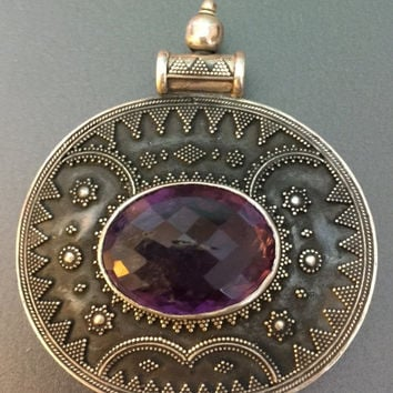 Bali 925 Sterling Silver and Amethyst Pendant, Huge Pendant, Intricate Metal Work, Faceted Amethyst, Tribal Boho