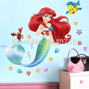 Little Mermaid Ariel Fairy Wall Stickers for Kid Room Princess Decoration Bathroom Girls Wall Decals Art WallPaper Anime Posters