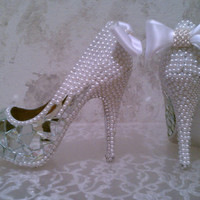 Crystal Pearl and Mirror Shoes by sillydi on Etsy
