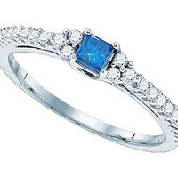 Diamond Bridal Ring with 0.20ct Center Princess Stone in 10k White Gold 0.51 ctw