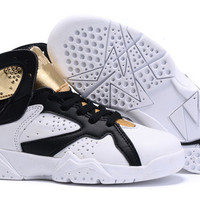 2016 XMAS GIFT Newest Retro AJ7 For Children's Basketball Shoes jordan J7 Retro kids Basketball Shoes Sports Sneakers white black gold