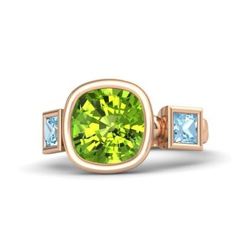 Cushion Peridot 14K Rose Gold Ring with Aquamarine