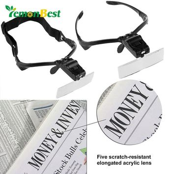 2LED Visor Magnifier Glasses Jewelry Watch Repair Magnifying with 5 Replaceable Lens