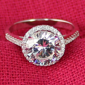 4ct Round Cut Halo Engagement Ring, Wedding, Bridal, Promoise ring, Sterling Silver, Man Made Diamond Simulants, CZ