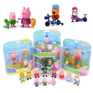 Peppa pig George friend pink  Family Pack Dad Mom Action Figure Original Pelucia Anime Toys Boy girl gift