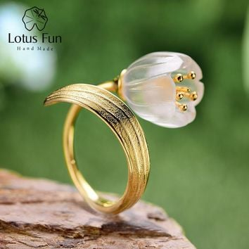 Lotus Fun Real 925 Sterling Silver Natural Crystal Handmade Fine Jewelry Lily of the Valley Flower Rings For Women