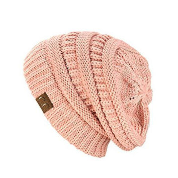 Unisex Soft Stretch Knit Slouchy Beanie (Two Toned- Rose)