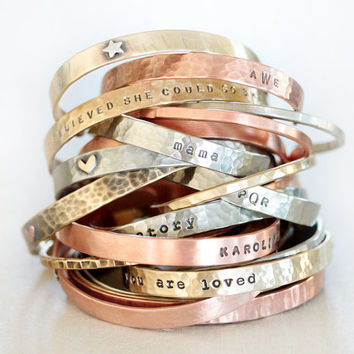 DIY / Customize ONE Slim + ONE Skinny / Cuff Bracelets / Gift for Her / Personalized Jewelry / Birthday Gift / Graduation / Inspirational