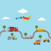 LARGE CARS, CONSTRUCTION Cars, Tractor, Fire Truck, Airplane and... Fabric Wall Decals - Removable & Reusable Fabric vinyl-  - 87