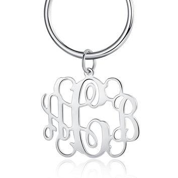 Handmade Monogrammed 3 Initials Name Keychain Charms - Personalized Keychain - Back to School