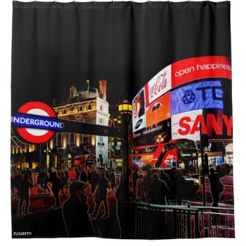 Fantasy Glowing Piccadilly In London At Night Shower Curtain