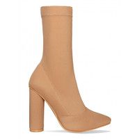 Zoe Sand Ribbed Block Heel Ankle Boots : Simmi Shoes