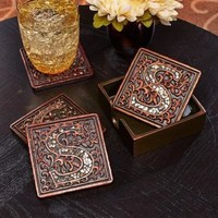 5 Pc Mosaic Monogram Coaster Set with Holder Home Table Decor Gift Bronze Color