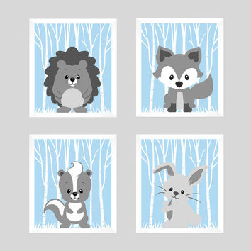 Woodland Animals Gray Forest Animals on Powder Blue CUSTOMIZE COLORS, 8x10 Prints, set of 4, Nursery Decor Print Art Baby Room Baby Girl